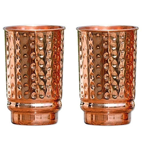 HealthGoodsIn - Hammered Pure Copper (99.74%) Tumbler Set of 2   Travellers Copper Mug for Serving Water   For Ayurveda Health Benefits (11.8 US Fluid Ounce)