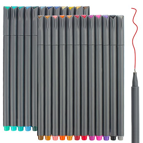24 Fineliner Color Pens Set, Taotree Fine