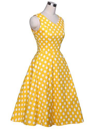 DRT072 COUPLE Baile Amarillo Vestido Blanco 1950S Vintage Puntos 3XL Lunares de Rockabilly FAIRY Fw8q1AA