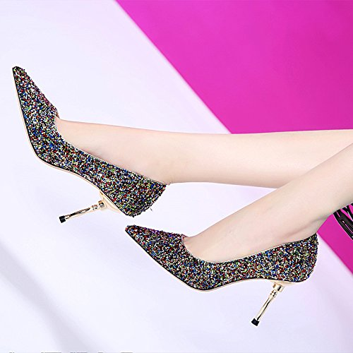 slim little sequins shoes and high thin 8cm pointy heeled shoes fresh single Thirty LBTSQ Fashion fad sexy eight xq6Ewxv4