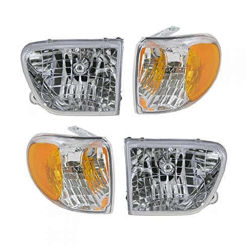 (Headlight Headlamp Parking Corner Light Set of 4 for 98-01 Mountaineer)
