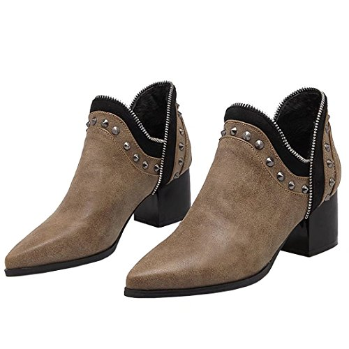 AIYOUMEI Womens Pointed Toe Block Heel Botie Autumn Winter Ankle Boots with Rivets Brown UYAno2
