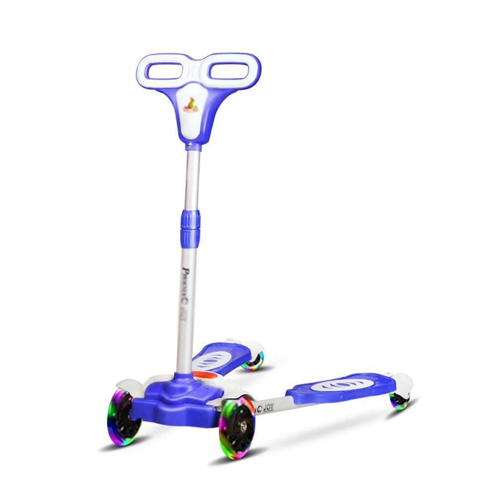 CMXIA Scooter per Bambini a Quattro Ruote con Altezza Regolabile per Bambini Scooter a Forbice per Bambini a 3-6 Anni ( Colore   blu )