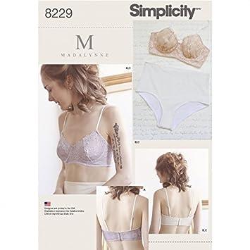 Simplicity Damen Schnittmuster 8229 Dessous Bügel BH & Slip ...