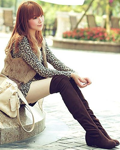 Marrón Sencillo Otoño Cálido Largas Botas Invierno Botas Talón Mujer Plano Minetom Zapatos Moda Boots Ow85TRaq