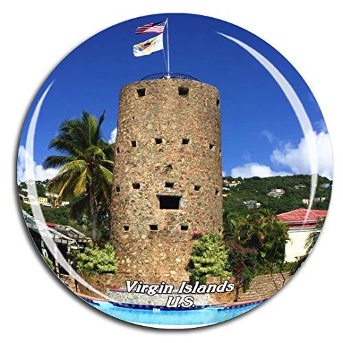 Blackbeard's Castle Charlotte Amalie St. Thomas U.S. Virgin Islands Caribbean Sea Fridge Magnet 3D Crystal Glass Tourist City Travel Souvenir Collection Gift Strong Refrigerator - Collection Amalie