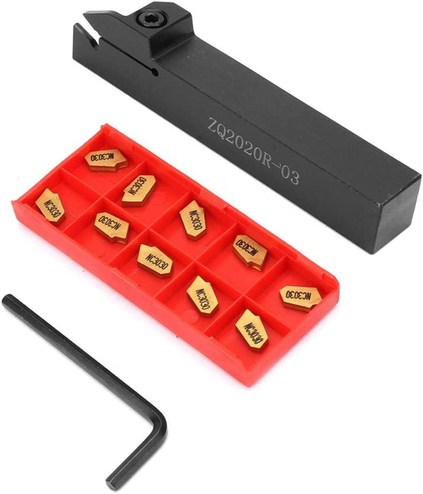 ZQ2020R-3 20mm Lathe Grooving Turning Tool Holder 10PCS GTN-3 SP300 Inserts
