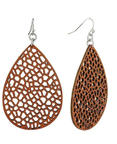 Women's Smooth Faux Leather Teardrop Dangle Pierced Earrings, Brown