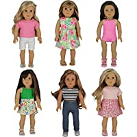 PZAS Toys 6 Complete Summer Outfit Sets for 18