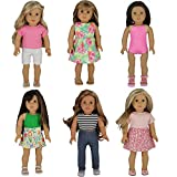 PZAS Toys Doll Clothes for American Girl - 6 Complete Summer Outfit Sets for 18'' Doll Clothes