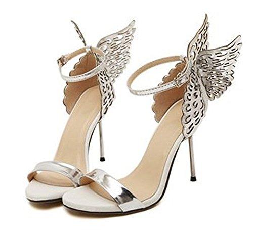 tacón sandalias con de Oro de sandalias finas brillantes Fine tacón El alto con zapatos alas qA5T5Px
