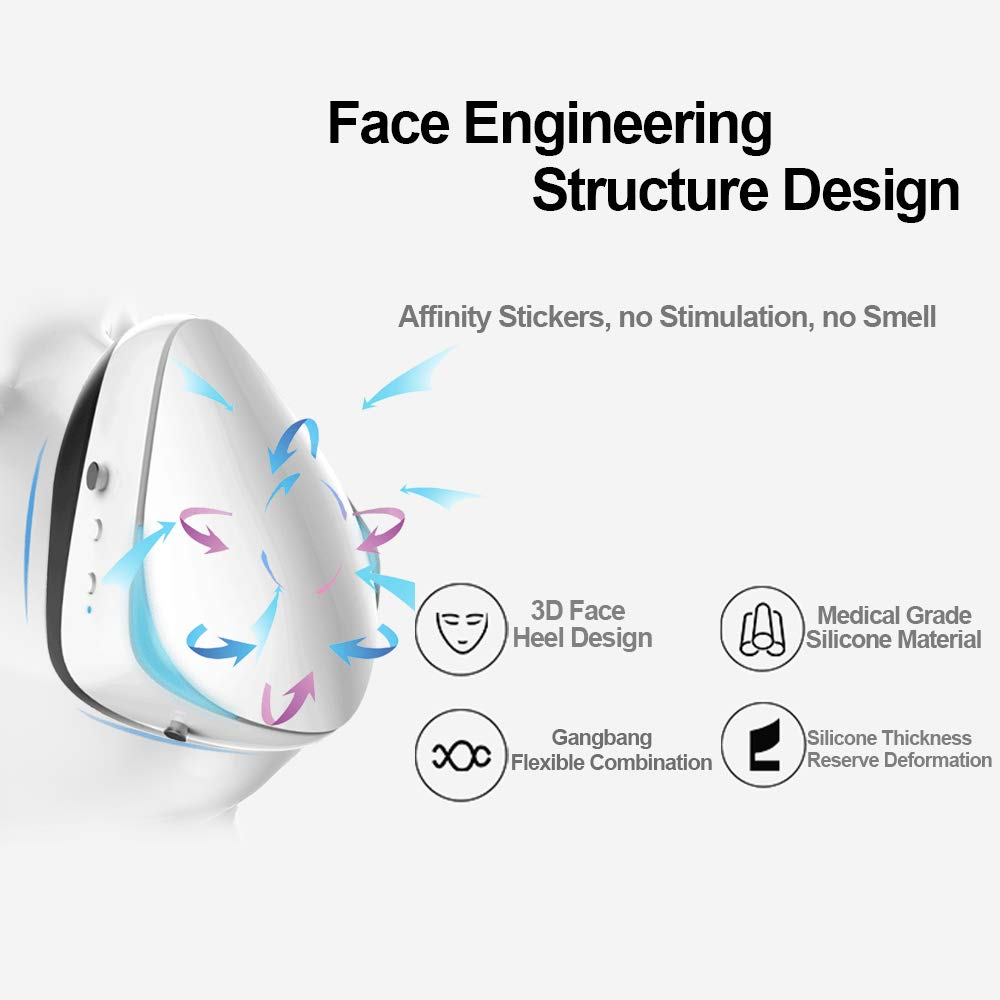 Smart Electric Masks - Medical Grade Fresh Air Purifying Mask with 10PCS Replacement Filters Anti Pollution/Anti Haze/Dust Proof Mask for Exhaust Gas, Pollen Allergy, PM2.5, Running, Cycling by Anna Home Collection (Image #4)