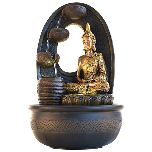 Buddha Polyston Water Fountain Indoor Outdoor Tabletop Fountain Waterfall With LED Light