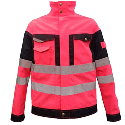 Amazon.com: Chaqueta de seguridad rosa reflectante para ...