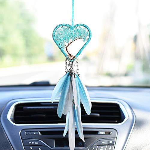 Handmade Dream Catcher Car Rear View Mirror Pendant Charm with Crystal Beads Home Accessories -Blue Heart Shape Dream Catcher
