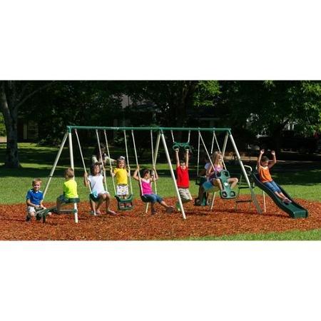 Triple Swing (Flexible Flyer Triple Fun II Swing Set with Slide, Swings, & Teeter-Totter)
