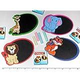 ~ 12 ~ Zoo Safari Mini Chalkboard Magnet Sets ~ New ~ Lion, Tiger, Elephant, Giraffe, Zebra, Monkey
