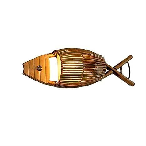 Lampara de Pared Tejido a Mano en Forma de pez lámpara de ...