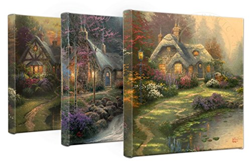 (Thomas Kinkade Cottages Set of 3 14 x 14 Gallery Wrapped Canvas)