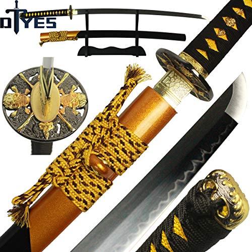DTYES Handmade Japanese Samurai Katana Sword/Ninja Sword/Shirasaya ((Original Katana) T10 Carbon Steel Clay Tempered Blade-Skull Tsuba)