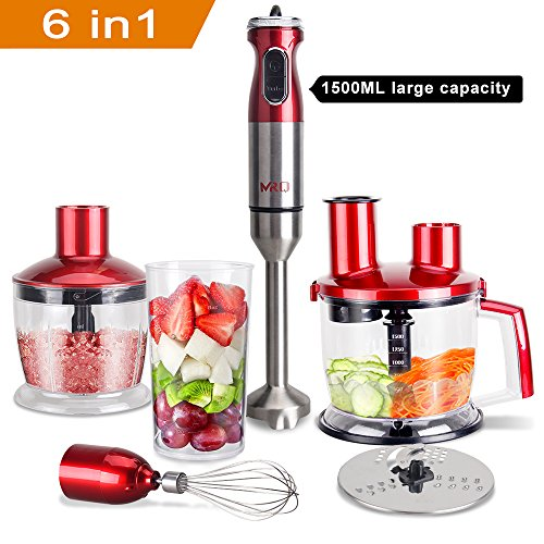 MRQ 6-in-1 800 Watt Immersion Hand Blender Set with 1500ml Food Chopper, 600ml BPA Free Beaker, Egg Whisk, 600ml Cup (Red)