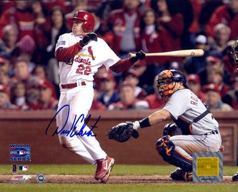 "David Eckstein St. Louis Cardinals Autographed 8"" x 10"" 2006 World Series Hitting Photograph - Fanatics Authentic..."