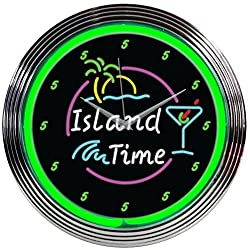 Neonetics Island Time Neon Wall Clock, 15-Inch