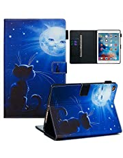 Jorisa Tablet Case Compatible with iPad 9.7 2018/2017/iPad Air 2(iPad 6)/iPad Air(iPad 5),Slim Leather Wallet Flip Magnetic Smart Stand Cover with Auto Wake/Sleep and Card Slots,Cat Sun