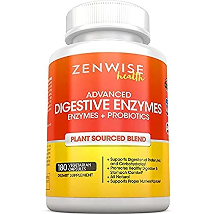 Digestive Enzymes Plus Prebiotics & Probiotics – Natural Gluten Free Support – for Better Digestion & Lactose Absorption – for Bloating & Gas Relief + Helps IBS & Leaky Gut