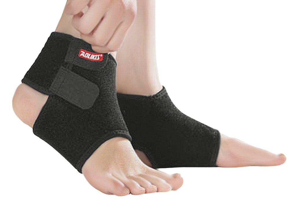 2 PCS Kids Children Ankle Brace Protector Adjustable AnkleTendon Compression Brace Foot Support Stabilizer for Basketball Soccer Volleyball Football & Baseball. Black, Medium