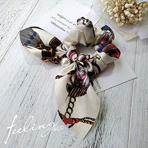 korean hair ring elastic rope ponytail holder hair rope woman retro prints, personalized gift rubber band hair accessories head faceplate balls tousheng hair hair coil twist ponytail holder (floral wh (Pony Floral Ball)