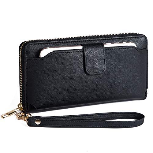 - Women Wristlet Wallet with Cell Phone Holder RFID Blocking Zip Around Wallet PU, Black