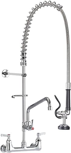 IMLEZON Commercial Faucet, Wall Mount Sink Faucet 8 Inch Center 47 Inch Commercial Kitchen Faucet with Pre-Rinse Sprayer and 12 Inch Swivel Spout