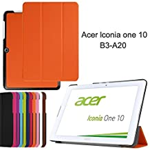 Acer Iconia One 10 B3-A20 DETUOSI ® Cover Case,Soft TPU inner + Luxury PU Leather Outer Case Flip Folio Cover for Acer Iconia One 10 B3-A20 10Inch-Orange