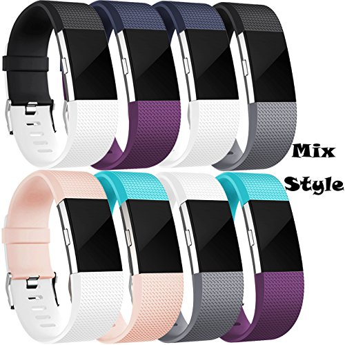 Wepro Bands Replacement for Fitbit Charge 2 HR, Buckle, 8 Pack, Large, Small