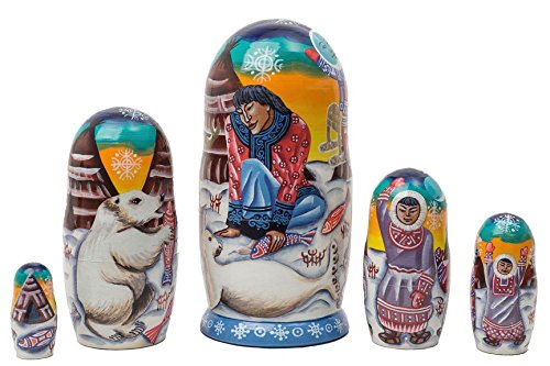- Eskimo Legends 5 Piece Wooden Russian Nesting Doll Matryoshka Stacking Dolls New