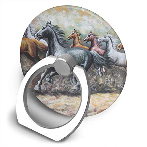 Round Finger Ring Stand Phone Holder Grip Horse Brown Animal 360°Rotation Kickstand for Smartphones and IPad