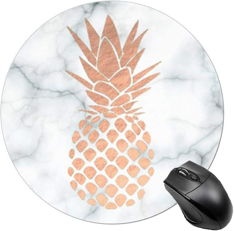BYBART Mouse Pad, Rose Gold Pineapple Black White Marble Mouse Pad Round Non-Slip Rubber Mousepad Office Accessories Desk Decor Mouse Pads for Computers Laptop