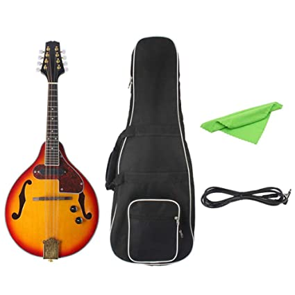 iBaste-ES Guitarra Tipo A Haya Caja eléctrica Guitarra de 8 Cuerdas Mandolina acústica-