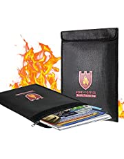 """Fireproof Document Bag, 15"""" x 11"""" Solid Silicone Coated Fire Resistant & Water Resistant Money Bag Fireproof Safe Storage for Money, Documents, Jewelry, Zipper Closure for Maximum Protection, Black"""
