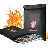 """Coralov Fireproof Document Bag, 15"""" x 11"""" Solid Silicone Coated Fire Resistant & Water Resistant Money Bag Fireproof Safe Storage for Money, Documents, Jewelry and Passport, Black"""