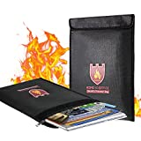 Coralov Fireproof Document Bag, 15'' x 11'' Solid Silicone Coated Fire Resistant & Water Resistant Money Bag Fireproof Safe Storage for Money, Documents, Jewelry and Passport, Black