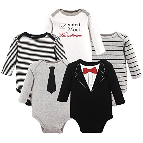 Little Treasure Baby Cotton Bodysuits, Tuxedo 5-Pack Long-Sleeve, 6-9 Months (9M)