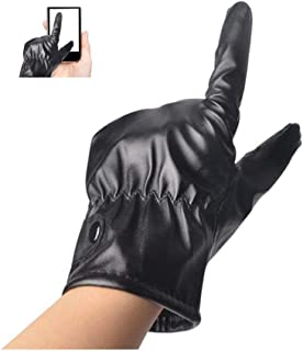 BEESCLOVER Winter Warm Fleeced PU Gloves Touch Screen Windproof Waterproof Outdoor Cycling Skiing Gloves