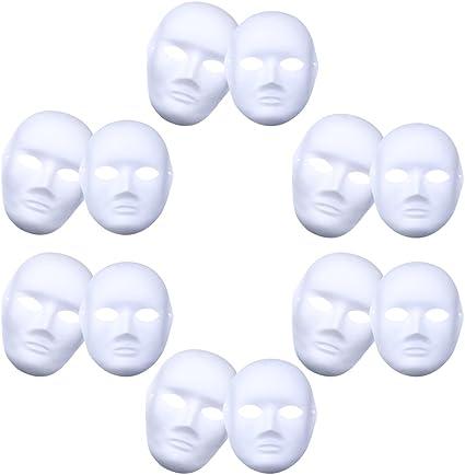 12Pcs White Plain Paper DIY Mask Cosplay Party Mask Costume Masquereade Mask