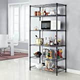 Extra Kitchen Storage LANGRIA 6 Tier Shelving Units Wire Storage Rack Freestanding Heavy Duty Extra Large Wire Rack for Garage Kitchen Workshop, 661 lbs Weight Capacity, 35.4x17.7x78.7, Black