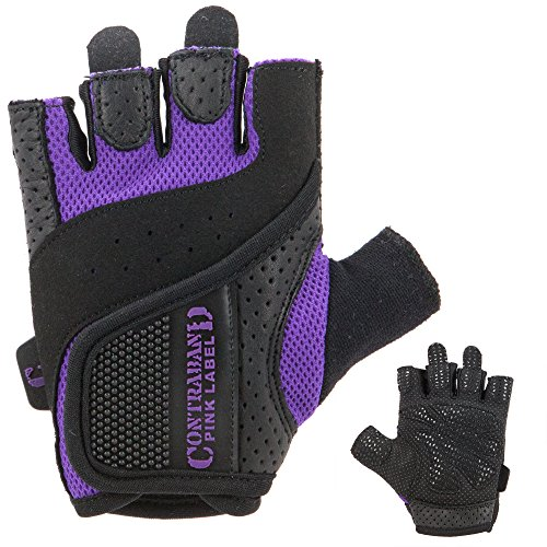 Purple Weight - Contraband Pink Label 5137 Womens Weight Lifting Gloves w/Grip-Lock Padding (PAIR) (Purple, Medium)