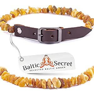 Amber Dog and Cat Collar, Certified Raw Baltic Amber Gems That are 50% Richer and Higher in Value - from Baltic Secret /BRN30-35/