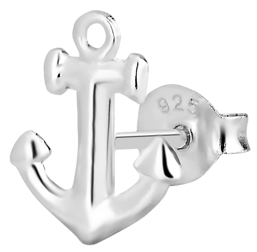 .925 Sterling Silver Anchor Cartilage Stud Earring (Sold Individually)