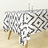 Roostery Tablecloth - Southwest Diamonds Chevron Boho Charcoal Cross Native American by Fable Design - Cotton Sateen Tablecloth 70 x 90